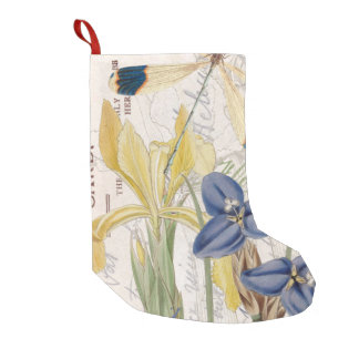 Dragonfly and Irises Small Christmas Stocking