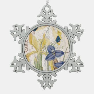 Dragonfly and Irises Snowflake Pewter Christmas Ornament