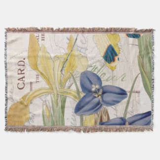 Dragonfly and Irises Throw Blanket