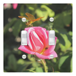 Dragonfly and Ladybug on Pink Rose Light Switch Cover