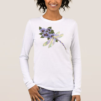 Dragonfly and Pansies Long Sleeve T-Shirt