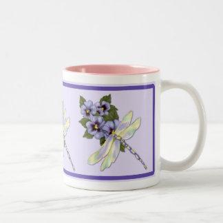 Dragonfly and Pansies Mug