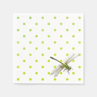 Dragonfly and polka dots paper napkin