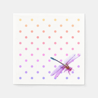 Dragonfly and polka dots - pink / purple  hue paper napkin
