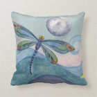 Dragonfly and the Full Moon Throw Pillow
