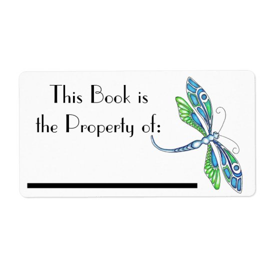 Dragonfly Book Label