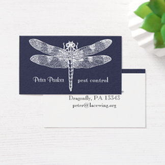Dragonfly Business Card | midnight faux flannel
