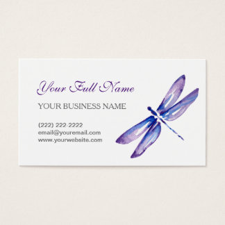 Dragonfly Business Cards | Purple Blue Watercolor