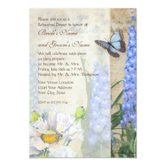 Dragonfly Butterfly Delphinium Rehearsal Dinner Card