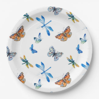 Dragonfly Butterfly Paper Plate