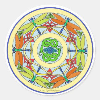 dragonfly circle round sticker