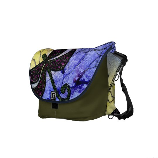 Dragonfly Collage over Watercolor - Blue Yellow Messenger Bag