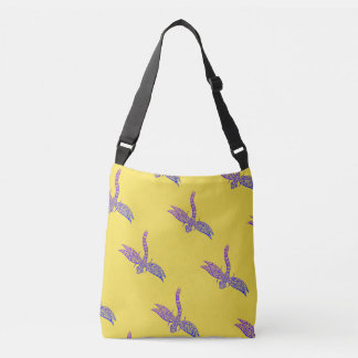 DragonFly Cross Body Tote (yellow & purple)
