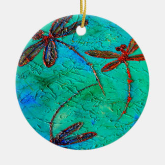 Dragonfly Dance Ceramic Ornament