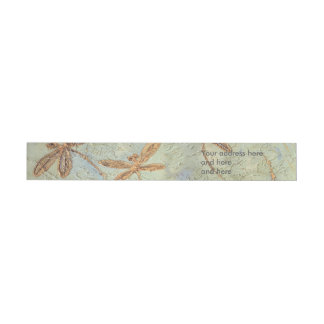 Dragonfly Dance Gold Wraparound Address Label