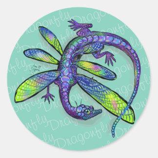 Dragonfly Dragon Classic Round Sticker