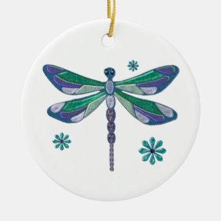 Dragonfly Elegant Jeweled  Folk Art Round Ceramic Ornament