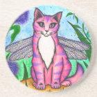 Dragonfly Fairy Cat Fantasy Art Coaster