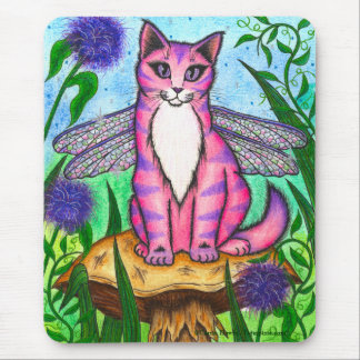 Dragonfly Fairy Cat Fantasy Art Mousepad