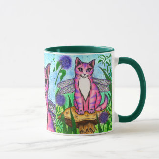 Dragonfly Fairy Cat Fantasy Art Mug