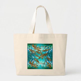 Dragonfly Flit Bubbles Large Tote Bag