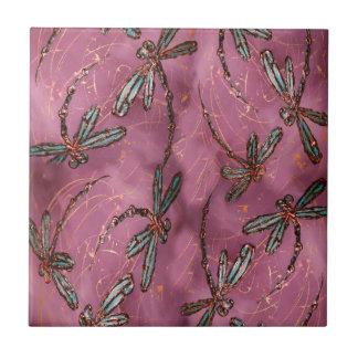 Dragonfly Flit Dusky Rose Tile