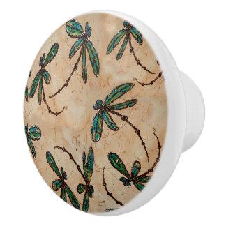 Dragonfly Flit Rustic Cream Ceramic Knob
