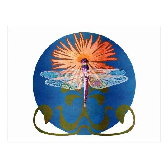 Dragonfly Flower Postcard