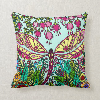 Dragonfly Flowers pink purple yellow green Throw Pillow