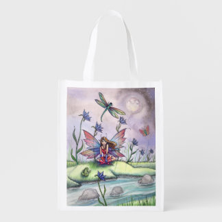 Dragonfly Frog and Fairy Fantasy Art Shopping Bag Market Tote