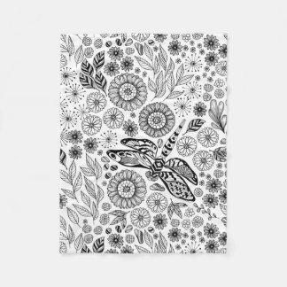 Dragonfly garden fleece blanket