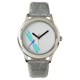 Dragonfly Girls Silver Glitter Watch