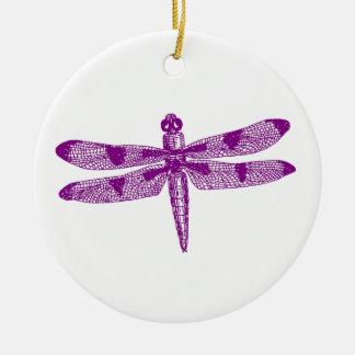 Dragonfly Graphic (Purple) Double Design Ceramic Ornament