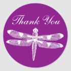 Dragonfly Graphic Thank You Round Classic Round Sticker