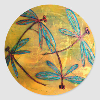 Dragonfly Haze Classic Round Sticker