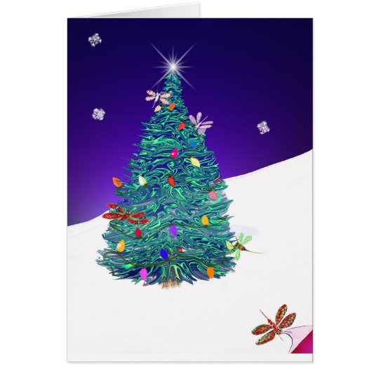 dragonfly holiday tree card