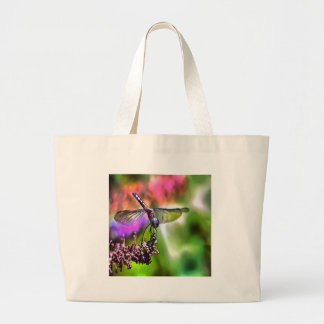 Dragonfly In Green and Blue Large Tote Bag