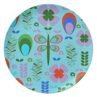 dragonfly in the garden plate