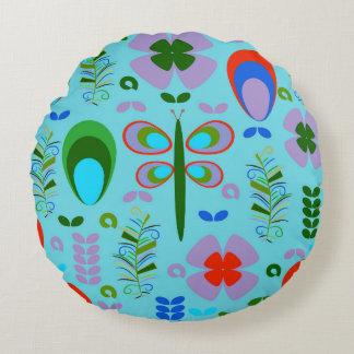 Dragonfly in the garden round pillow