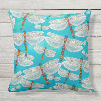 Dragonfly Lake, Turquoise Throw Pillow