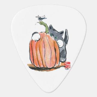 Dragonfly Leads Kitten Through the Pumpkin Patch Guitar Pick