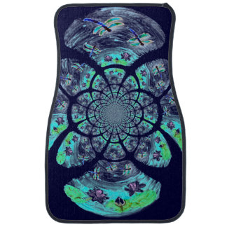 Dragonfly Lilly Flowers Pattern Car Mat