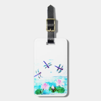 Dragonfly, Lily Flowers Pond Painting Bag Tag