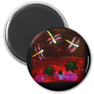 Dragonfly Lily Pond Abstract Art 2 Inch Round Magnet