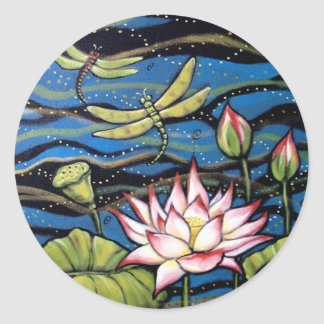 DRAGONFLY LOTUS   by Diana S Martin Round Sticker
