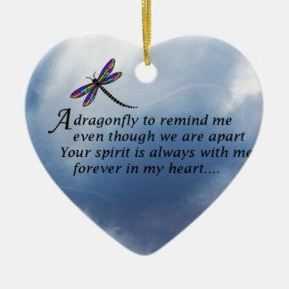 Dragonfly  Memorial Poem Ceramic Heart Ornament