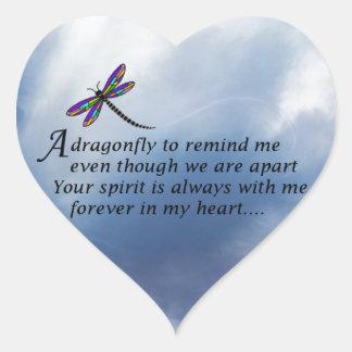 Dragonfly  Memorial Poem Heart Sticker
