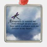 Dragonfly  Memorial Poem Silver-Colored Square Ornament