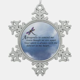 Dragonfly Memorial Poem Pewter Snowflake Ornament