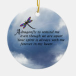Dragonfly  Memorial Poem Round Ceramic Ornament